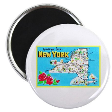 New York Map Greetings Magnet