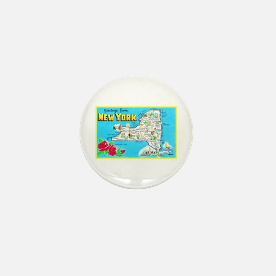 New York Map Greetings Mini Button