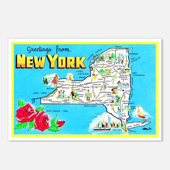 New York Map Greetings Postcards (Package of 8)