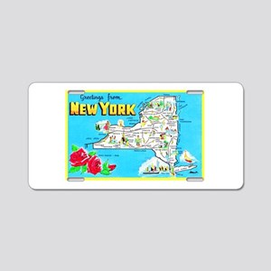 New York Map Greetings Aluminum License Plate