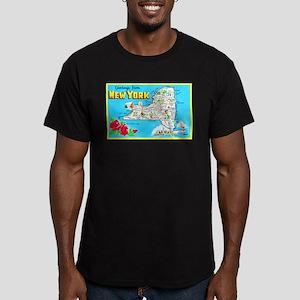 New York Map Greetings Men's Fitted T-Shirt (dark)