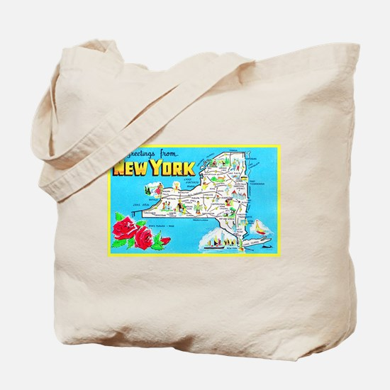 New York Map Greetings Tote Bag