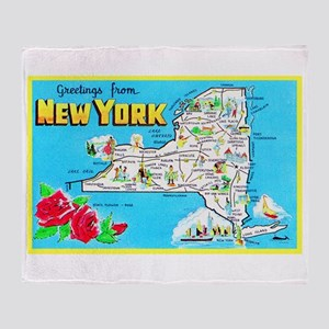 New York Map Greetings Throw Blanket