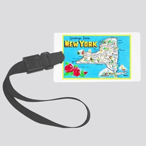 New York Map Greetings Large Luggage Tag