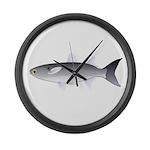 Black Mullet fish Large Wall Clock