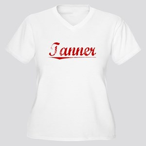 Tanner, Vintage Red Women's Plus Size V-Neck T-Shi