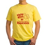 Girl Hearts Bacon Yellow T-Shirt