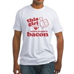 Girl Hearts Bacon Fitted T-Shirt