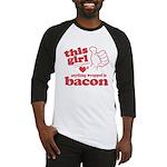Girl Hearts Bacon Baseball Jersey
