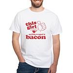 Girl Hearts Bacon White T-Shirt