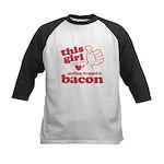 Girl Hearts Bacon Kids Baseball Jersey