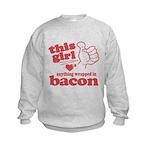 Girl Hearts Bacon Kids Sweatshirt