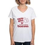 Girl Hearts Bacon Women's V-Neck T-Shirt