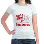 Girl Hearts Bacon Jr. Ringer T-Shirt