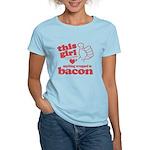 Girl Hearts Bacon Women's Light T-Shirt