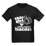 Girl Hearts Bacon Kids Dark T-Shirt