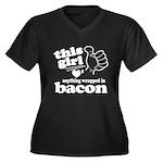 Girl Hearts Bacon Women's Plus Size V-Neck Dark T-