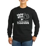 Girl Hearts Bacon Long Sleeve Dark T-Shirt