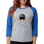Snowboarder Skully Womens Baseball Tee