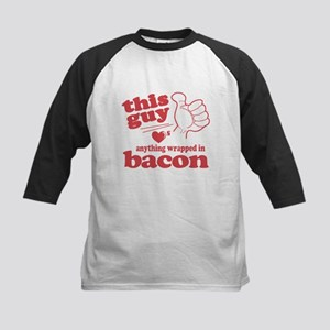 Guy Hearts Bacon Kids Baseball Jersey