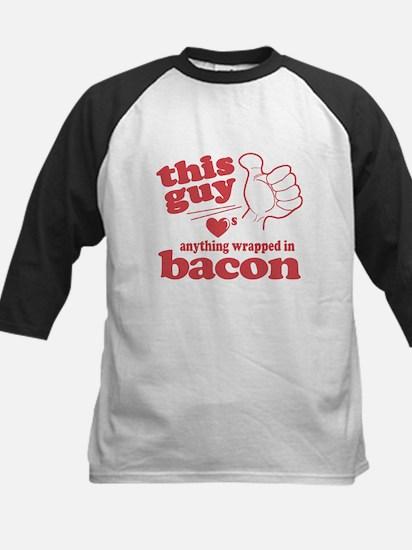 Guy Hearts Bacon Kids Baseball Jersey