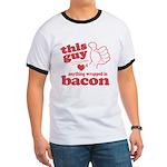 Guy Hearts Bacon Ringer T
