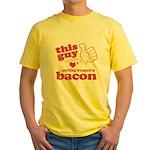 Guy Hearts Bacon Yellow T-Shirt