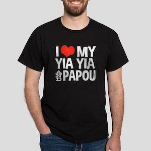 I Love My Yia Yia and Papou Dark T-Shirt