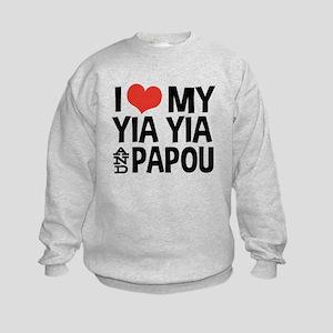 I Love My Yia Yia and Papou Kids Sweatshirt