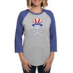 UncleSammySkull_wht Womens Baseball Tee