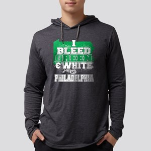 I Bleed Green And White Go Phila Mens Hooded Shirt