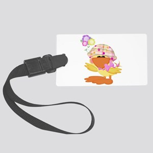 baby girl spring ducky Large Luggage Tag