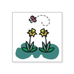 daffodils and butterfly.png Square Sticker 3