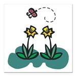 daffodils and butterfly.png Square Car Magnet 3