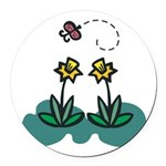 daffodils and butterfly.png Round Car Magnet