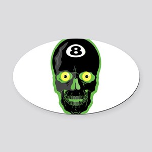 green 8 ball skull Oval Car Magnet