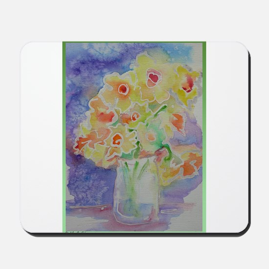 Floral Bouquet! Daffodils in vase! Mousepad