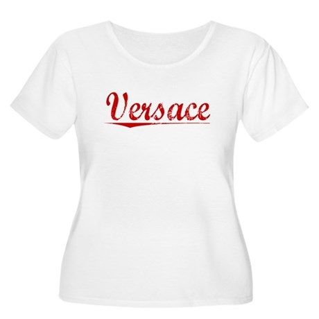 Versace, Vintage Red Women's Plus Size Scoop Neck