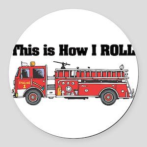 fire truck Round Car Magnet