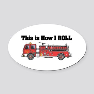 fire truck Oval Car Magnet