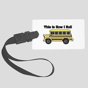 short yellow bus Large Luggage Tag