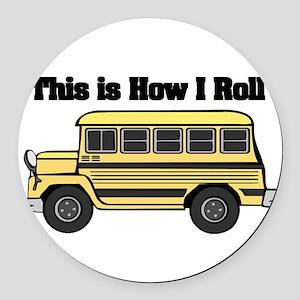 short yellow bus Round Car Magnet