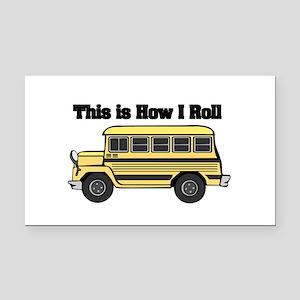 short yellow bus Rectangle Car Magnet