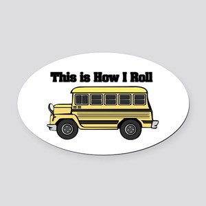 short yellow bus Oval Car Magnet
