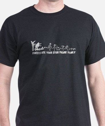 Zombies Ate Your Stick Figure Family T-Shirt