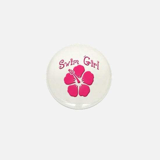 Swim Girl - Dark Pink Mini Button
