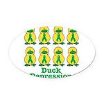 depression ducks.png Oval Car Magnet