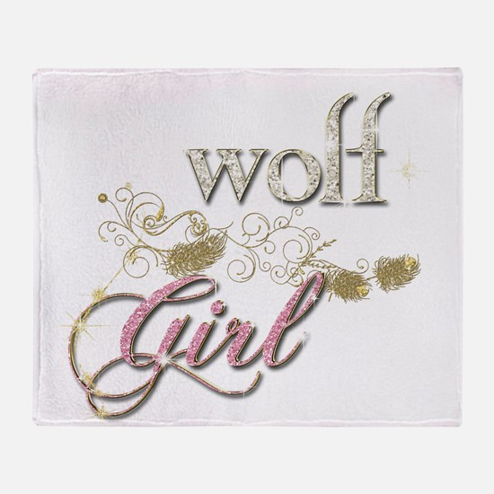 Wolf Girl Sparkly Throw Blanket