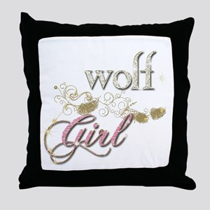 Wolf Girl Sparkly Throw Pillow