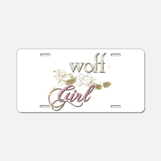 Wolf Girl Sparkly Aluminum License Plate